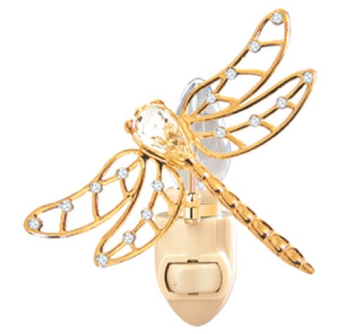 (24k Gold Plated Dragonfly Night Light with Clear Swarovski Crystal Element)