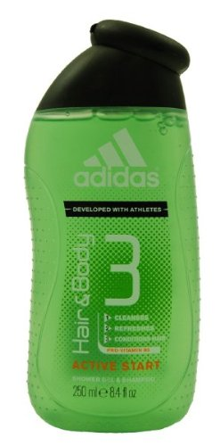 Adidas Active Start, Hair & Body 3, Shower Gel & Shampoo for Men, 8.4 Oz (Pack of 3) (Adidas Womens Body Wash)