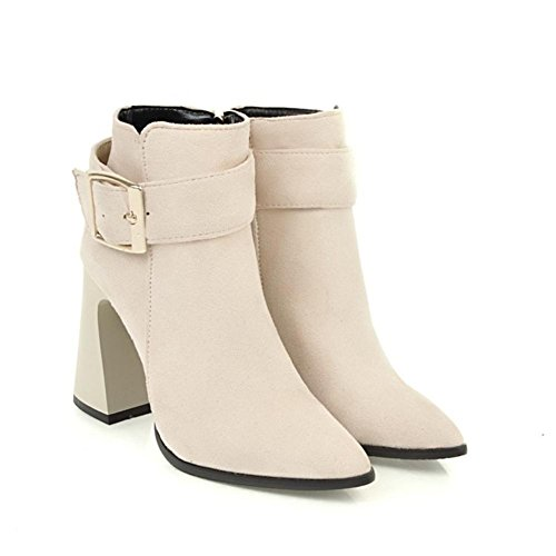 Women's BEIGE Party Work Buckle Suede High Winter Toe Red Rough NVXIE Black Belt Short Heel Pointed Fall EUR40UK7 Boots dyRnTaq