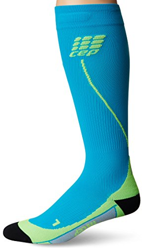 CEP Men's Progressive+ Compression Run Socks 2.0 for Running, Cross Training, Fitness, Calf Injuries, Shin Splits, Recovery, and Athletics, 20-30mmHg Compression, Hawaii Blue/Green, Size 5