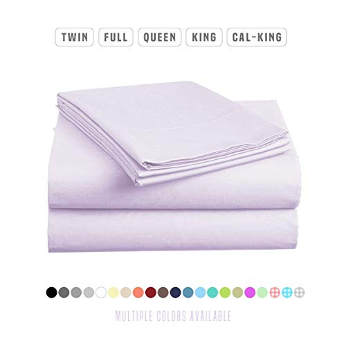 - Roch Linen 100% Pima Cotton Sheet Set, 500 TC - High Qyality 21'' Deep Pockets-Easy Fit-Breathable & Cooling Sheets-Wrinkle & Fade Resistance- (Lilac/Queen)
