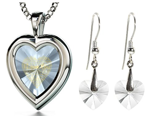 925 Silver Clear Heart Jewelry Set I Love You Necklace 120 Languages CZ Inscribed and Crystal Earrings by Nano Jewelry