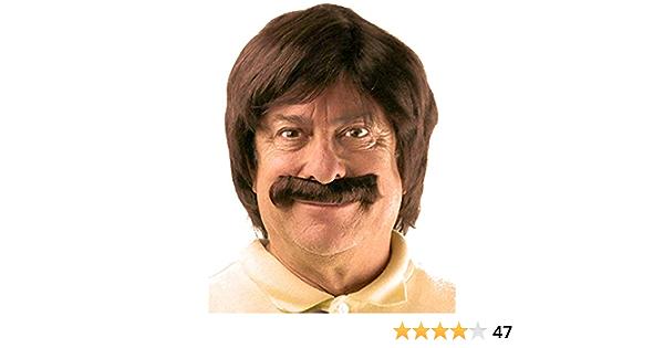 City Costume Wigs Juego de Peluca y Bigote Retro marrón | Sonny Bono, Sonny y Cher, Anchorman, Ron Burgundy Peluca de Disfraz