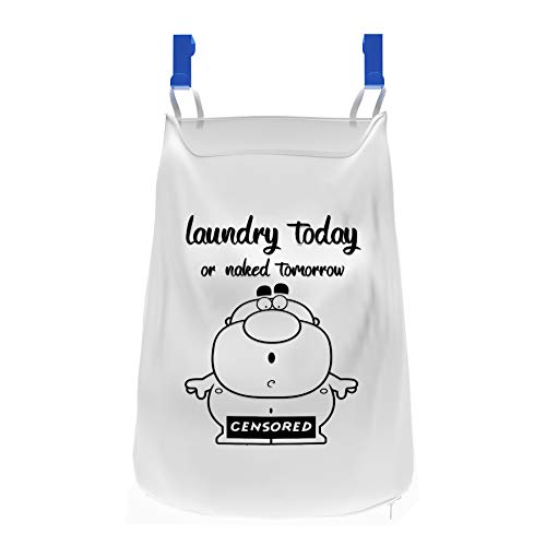 Hanging Laundry Hamper - Over The Door Clothes Basket & Storage Organizer - Space Saver Hampers for Apartment, Dorm Rooms & Closet - Sorter Bag for Essentials & Delicates - With Suction Hooks for Kids