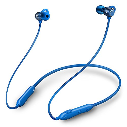 Bullker ワイヤレス Bluetooth 5.0 ヘッドフォン カナル型スポーツイヤホン 防水 ワイヤレス ネックバンド イヤホン HD ステレオ ノイズキャンセリング ヘッドセット ジム オフィス トレーニング用  ブルー B07RHT73N2