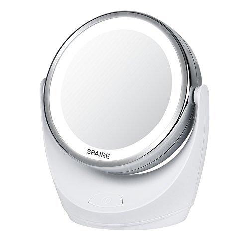 Specchio per Trucco LED 7X/1X Specchio ingranditore con Illuminazione Specchio per Trucco LED a Doppia Faccia con Rotazione a 360 Gradi per Bellezza