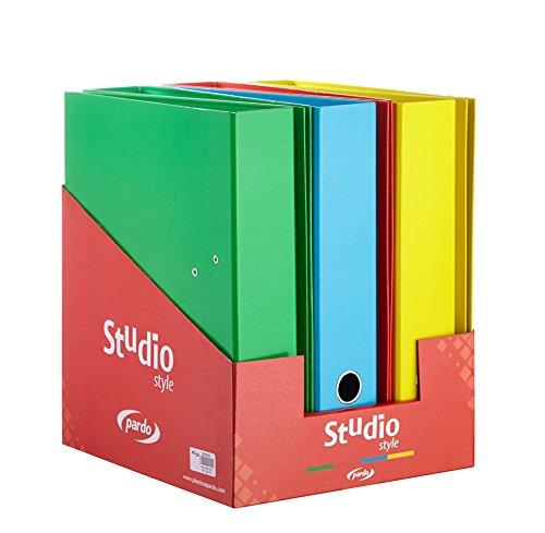 Pardo 921518 - Expositor con 6 archivadores forrados con diseño studio, multicolor: Amazon.es: Oficina y papelería