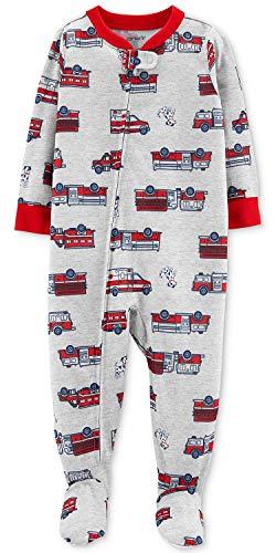 Carter's Boys' 1-Piece Footed Pajamas (12 Months, Grey/Firetruck)