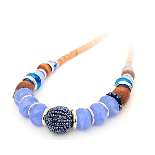 Dandingding Bohemia Style Handmade Glass and Beads Short Clavicular Adjustable Necklace -