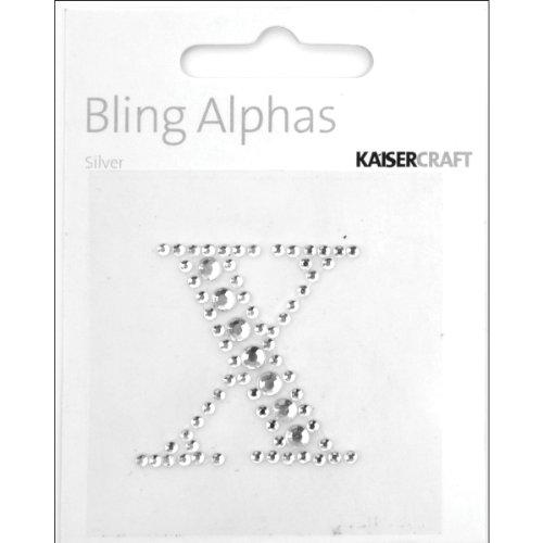 Kaisercraft Bling Alphas Self Adhesive Rhinestone Letter, 1.375-Inch Silver Crystal X, 5 ()