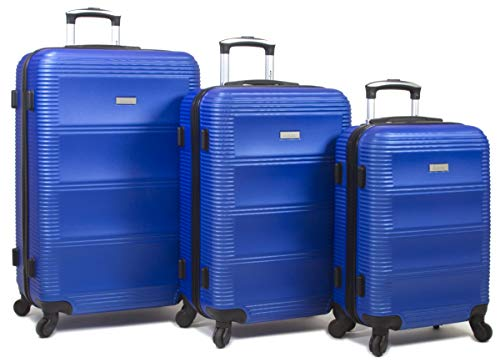 Dejuno 25DJ-801-BLUE Helix Hardside Spinner Luggage Set44; Blue – 3 Piece