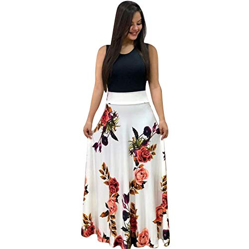Aublary Maxi Dresses for Women Womens Round Neck Sleeveless Summer Floral Maxi Dress, White-Sleeveless S