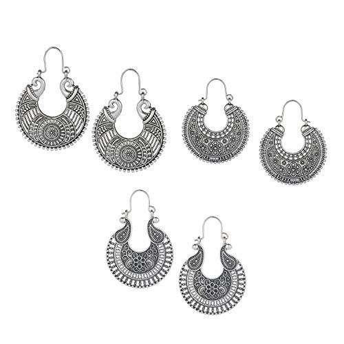 Oxidized Silver Jewellery - Efulgenz Oxidized Silver Hoops Boho Vintage Retro Tribal Tibetan Gypsy Dangle Indian Bollywood Ethnic Earrings Love Gift (Combo 3)