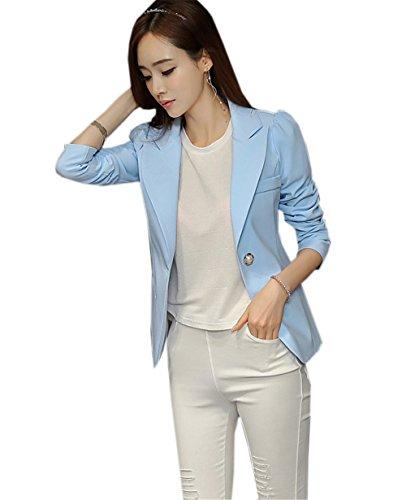 JOTHIN Femme Chic Blazer Veste de Tailleur Slim OL Manche Longue Blouse lgant Jacket Automne Col V Costume D'Affaires Bleu