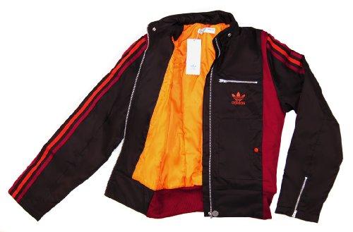 ADIDAS Retro Damen Jacke gefütterte WINDJACKE Braun Rot Orange Gr. XS