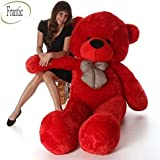 Frantic Soft Plush Fabric Cherry Red Teddy Bear with Neck Bow – 3 Feet (90 cm)