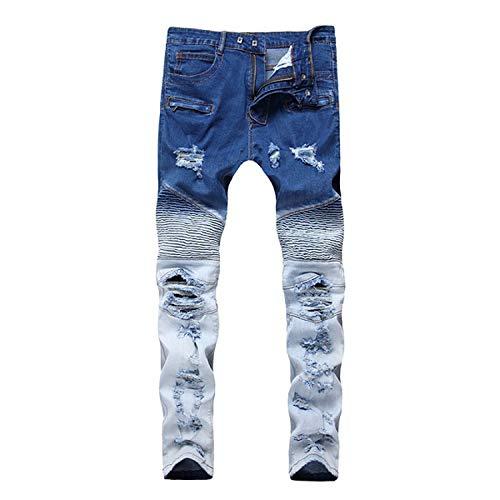 (New Biker Jeans Men Autumn Casual Jeans Hip Hop Elasticity Slim Denim Jeans Pants Home,1715,30)