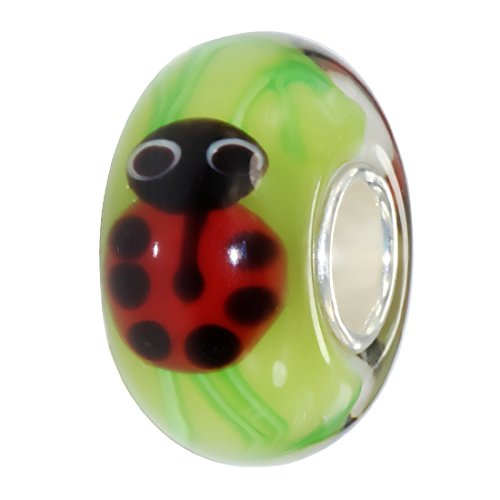 BEADS HUNTER Ladybugs Blown Glass Bead Handmade Fashion Jewelry
