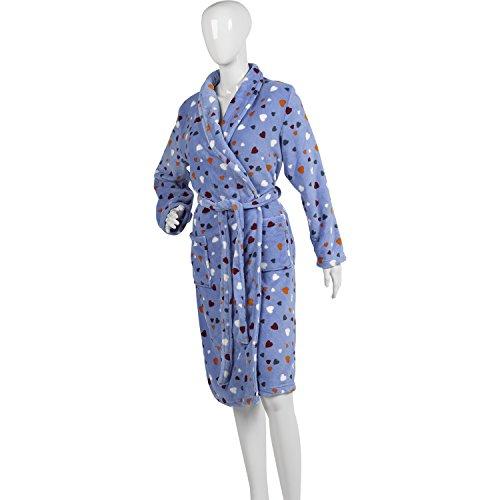 Ladies Heart Pattern Dressing Gown Soft Polyester Coral Fleece Bath Robe Large (Blue) - Heart Fleece Robe