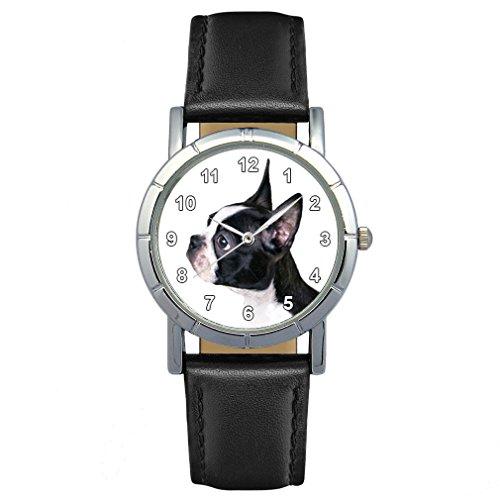 Round Wrist Watch - Timest - Boston Terrier - Womens Wrist Watch with Leather Strap in Black Round Analog Quartz SA2190
