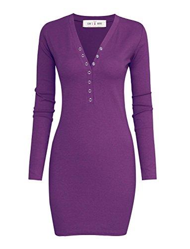 Tom's Ware Women Casual Slim Fit V Neck Snap Button Bodycon Mini Dress TWCWD070-PURPLE-US - Purple Tom
