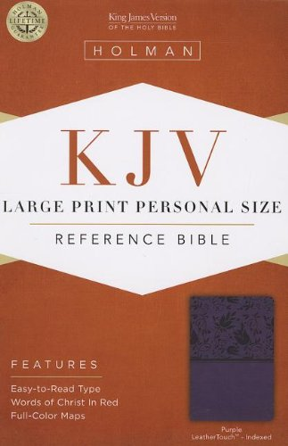 KJV Large Print Personal Size Reference Bible, Purple LeatherTouch Indexed (Staff Bookmark)