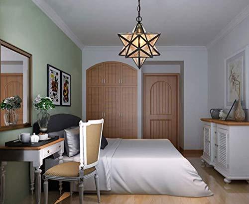 (ChuanHan Ceiling Fan Light Chandelier Lightings Tiffany Style Chandelier 12-Inch Pendant Lamp European Style Creative Five-Pointed Star Glass Pendant Light Decorative Lights for Bar Restaurant)