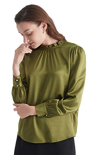 (LilySilk Silk Blouse for Women Sleek Puff Sleeve Long 19 Momme Charmeuse Tops for Ladies Breen XS/0-2)