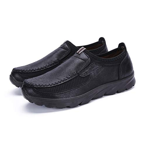 MAIZUN Large Size Loafer Shoes for Men Walking Shoes Fashionable and succinct Leisure Business Work Shoes (12, Black)