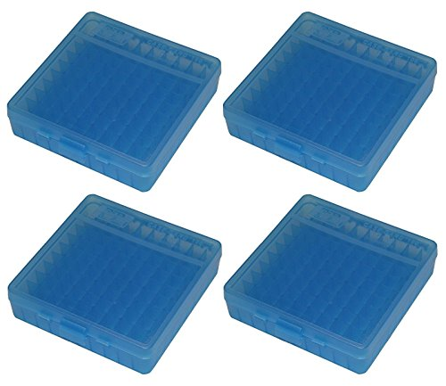 MTM 100 Round Flip-Top 40/45/10MM Cal Ammo Box - Clear Blue (4 - Cases 40 Ammo