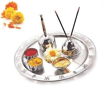 WhopperIndia Stainless Steel Hindu Pooja Thali for Traditional Religious and Spiritual and Festival Use 9.5 Inch