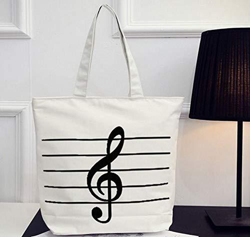 HOODDEAL Women's Girls' Music Symbols Print Canvas Tote Shop