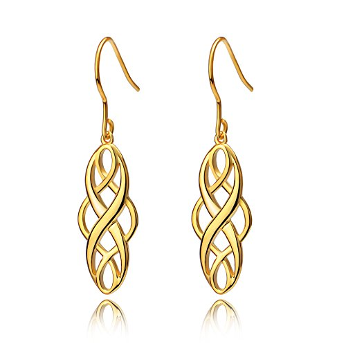 Plated Solid Gold Earrings (S925 Silver Earrings Solid Sterling Silver Polished Good Luck Irish Celtic Knot Vintage Dangles (Golden))