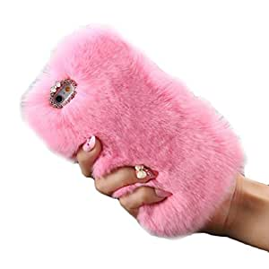 iPhone 6S Plus Case, iPhone 6 Plus Case, Lookatool Warm Fluffy Villi Fur Plush Wool Bling Case Cover Skin For iPhone 6S Plus or iPhone 6 Plus (Pink)