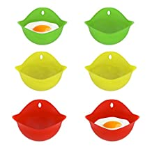 Chef Buddy Egg Poacher- Silicone Poaching Cups Set for Microwave or Stovetop, (Pack of 6)