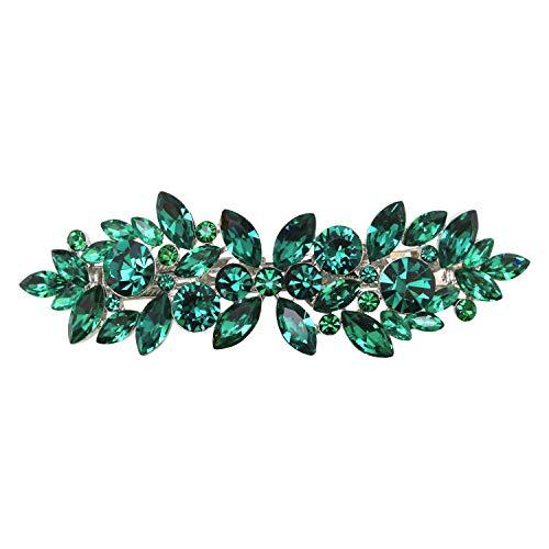 Faship Gorgeous Green Rhinestone Crystal Floral Hair Barrette Clip