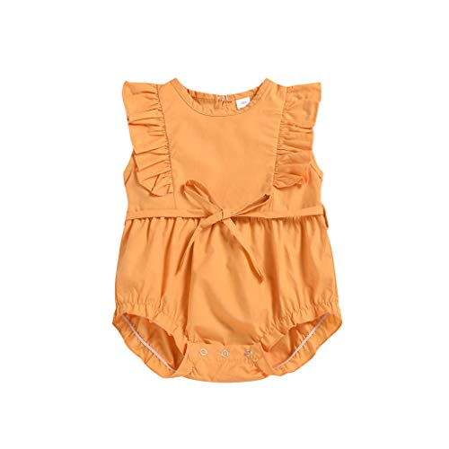 pollyhb Baby Romper, Infant Baby Sleeveless Ruffles Frill Solid Color Crawling Suit Summer Clothes Yellow ()