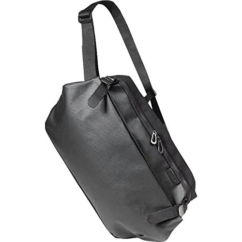 Cote & Ciel Men's Riss Coated Canvas Messenger Bag, Black, One Size