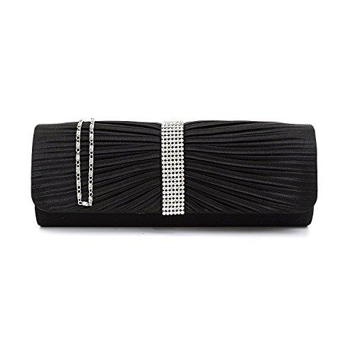 à Designer Femmes mariage Sac Noir main main dames sac de Satin soirée d'embrayage à de Party Diamante HvnxE
