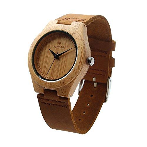 Stillcool Uhr Armbanduhr Bambus Holz Uhr Naturholz Echtes Leder Fur