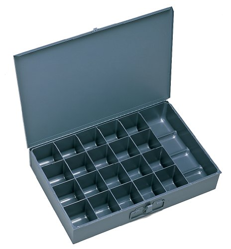 Durham 204-95-IND Gray Cold Rolled Steel Individual Small Scoop Box, 13-3/8 Width x 2 Height x 9-1/4 Depth, 21 Compartment