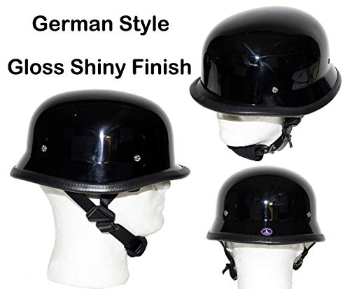 Dream Apparel Motorcycle Low Profile Skull Cap Gloss Shiny Black German Novelty Helmet W/Adjustable Chin Strap (2XL - (24.2