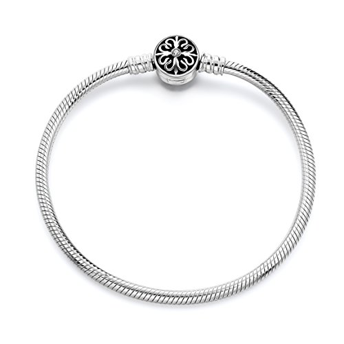 Long Way 925 Sterling Silver Snake Chain Bracelet Basic Charm Bracelets for Women, 8.3inches