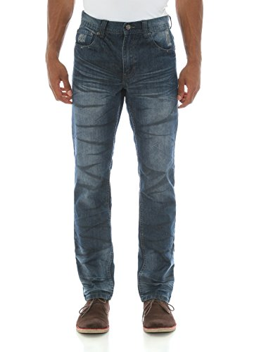 Akademiks Men's Harwell Straight Leg Denim Jeans-Tarnish Wash-30/30