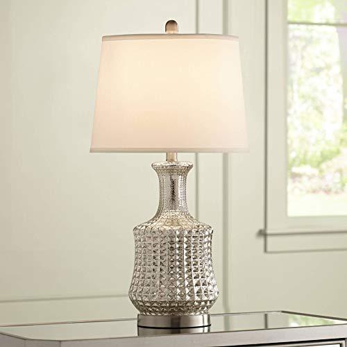 (Jody Mid Century Modern Table Lamp Mercury Glass Diamond Pattern White Drum Shade for Living Room Family Bedroom - Possini Euro Design)