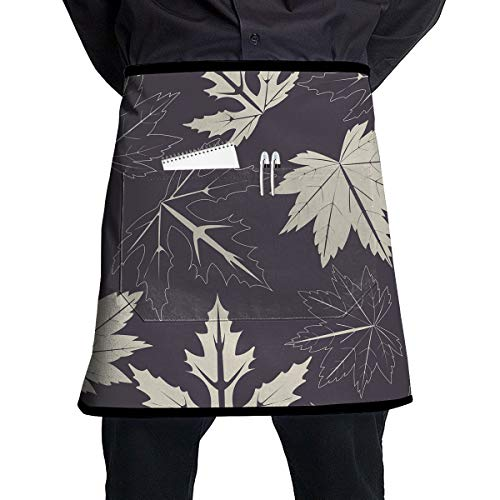 WSXEDC Waist Apron with Pockets - Maple Leaves On Purple Black Half Apron for ()