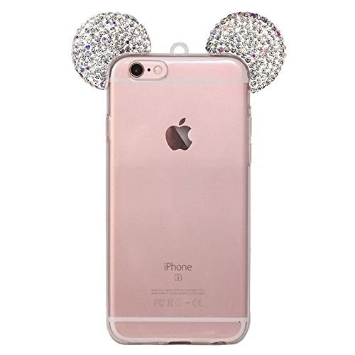 Crystal Mickey Mouse Rhinestone - iPhone 6S Plus Case, MC Fashion Sparkly 3D Mickey Mouse Bling Bling Crystal Rhinestone Ears Clear TPU Rubber Case with Removable Strap for iPhone 6S Plus (2015) & iPhone 6 Plus (2014) (Bling-Clear)