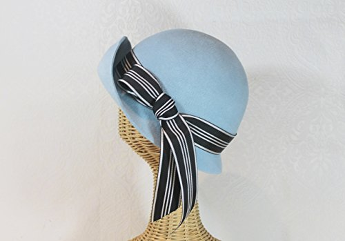Downton Inspired Edith Light Blue Cloche Hat in Velour Felt by Bonnet