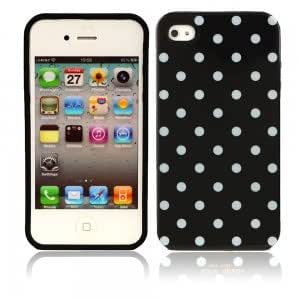 Little White Dots Design Silicone Case for iPhone 4 Black