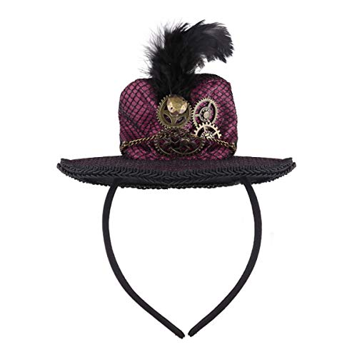 CHICTRY Steampunk Mini Top Hat Headband with Feather and Metal Gears Chain for Halloween Carnival Party Costume Accessory Burgundy One -